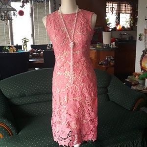 New York & Company pink and tan floral lace dress